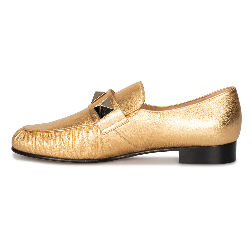 Valentino Macro Stud Loafers in Gold