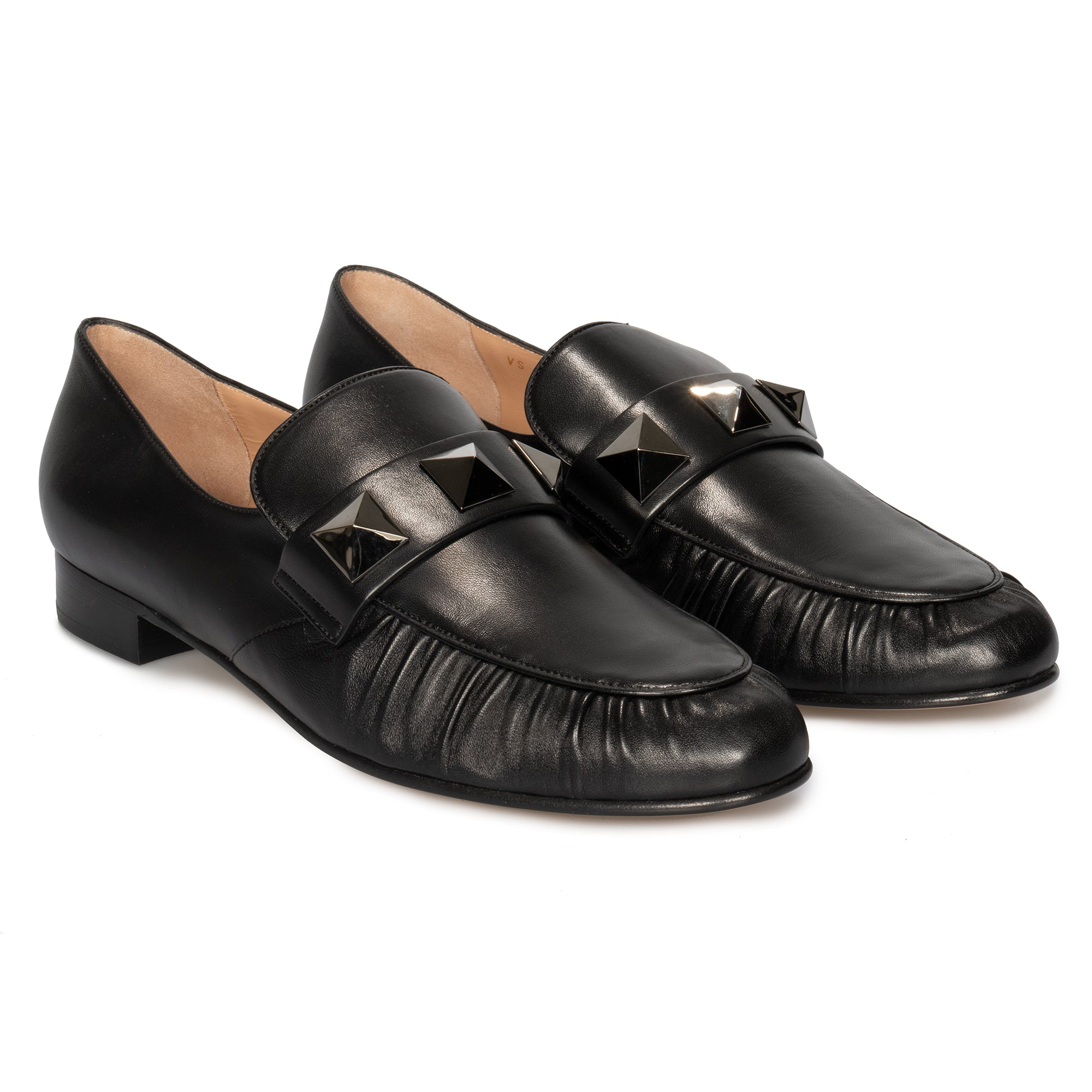 Valentino Macro Stud Loafers in Black