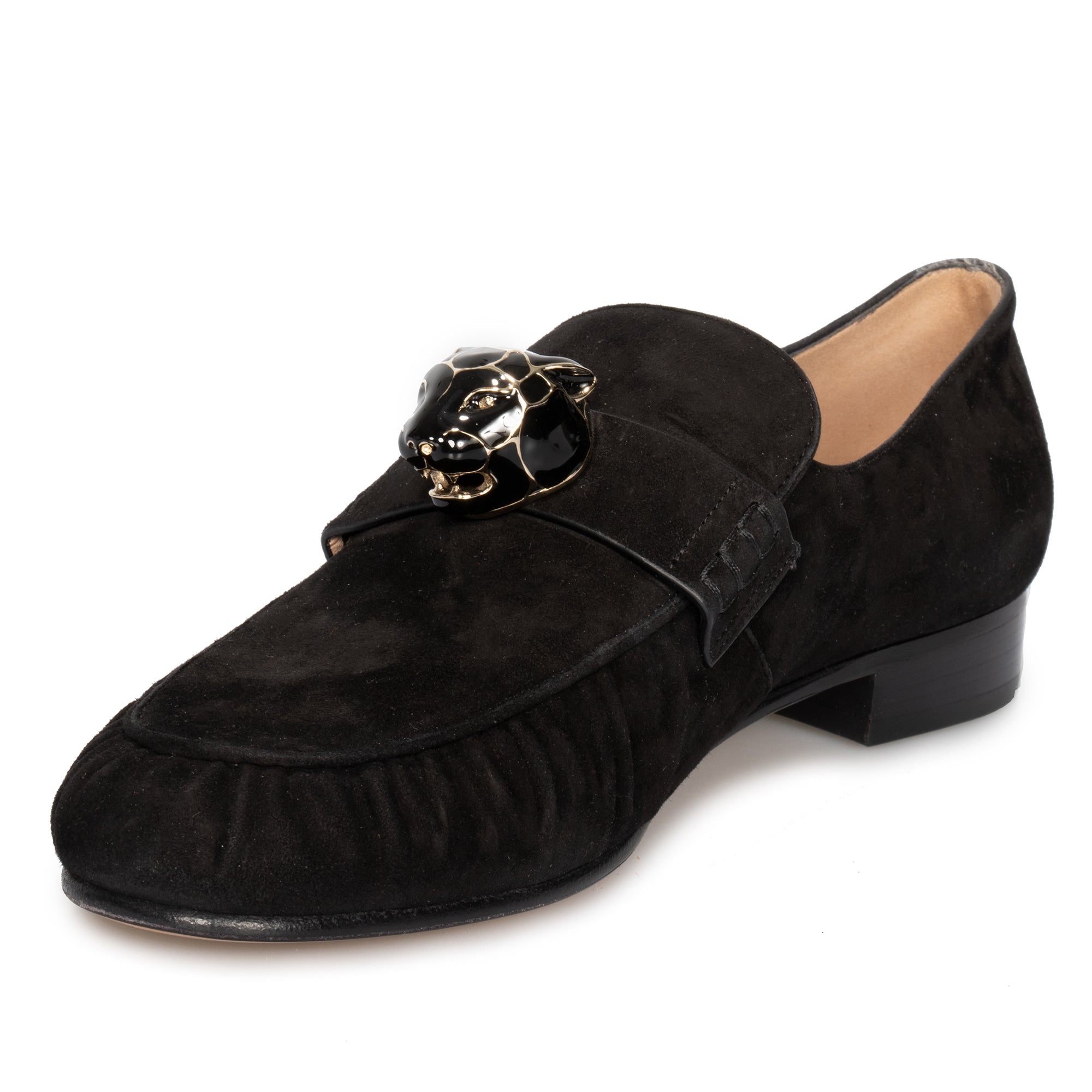 Valentino Panther Detail Chamois Loafers in Black