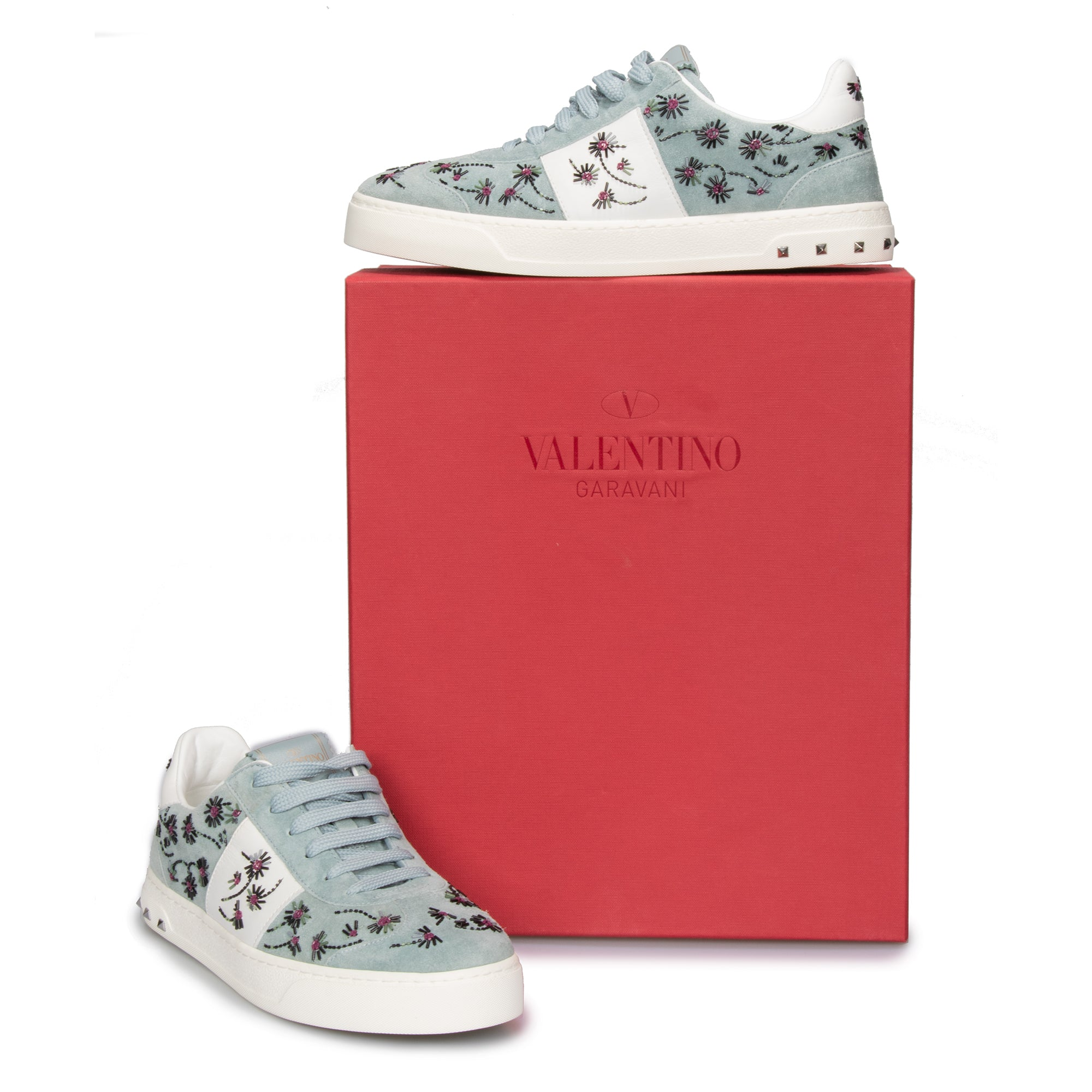Valentino Flycrew Embroidered Sneaker in Blue