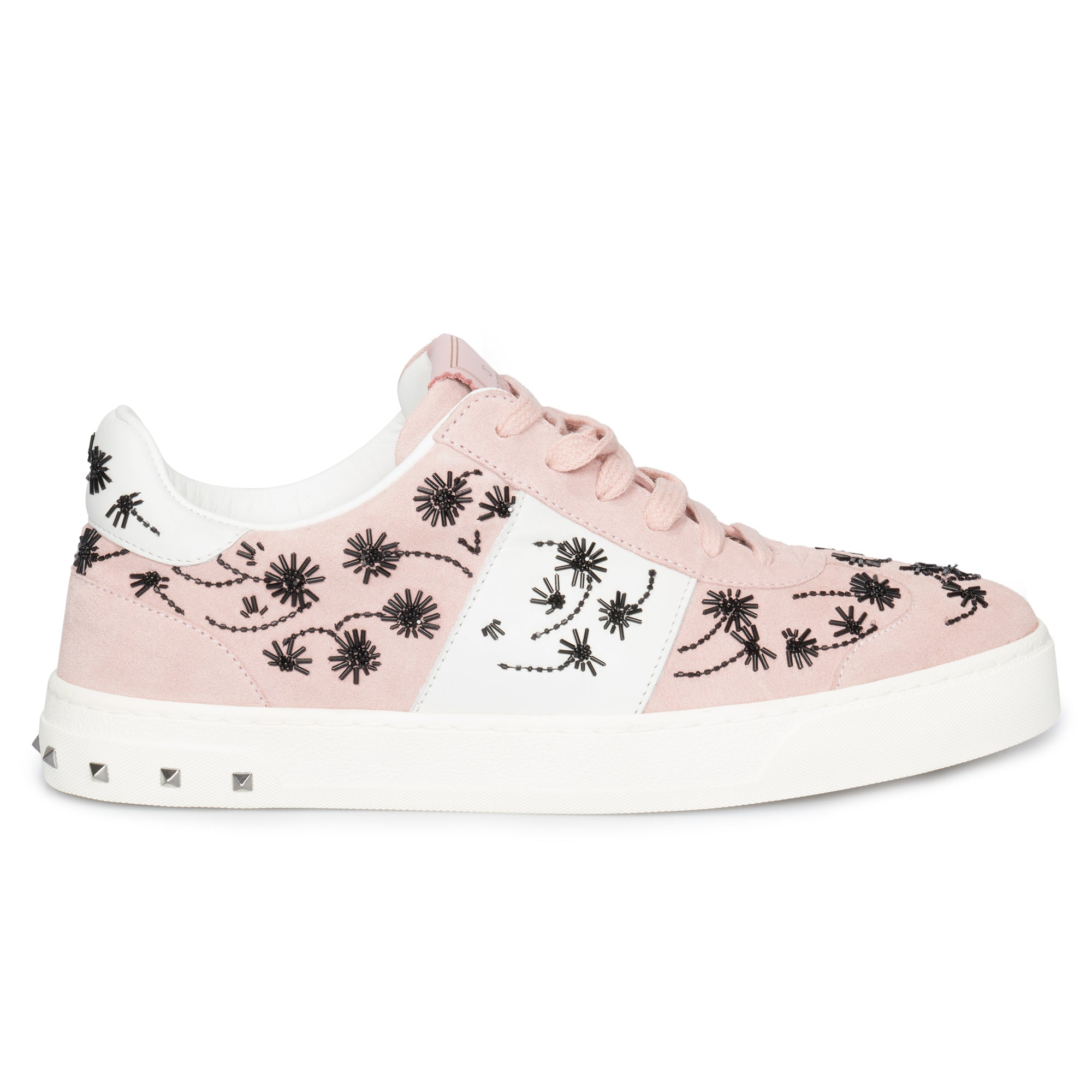 Valentino Flycrew Embroidered Sneaker in Pink