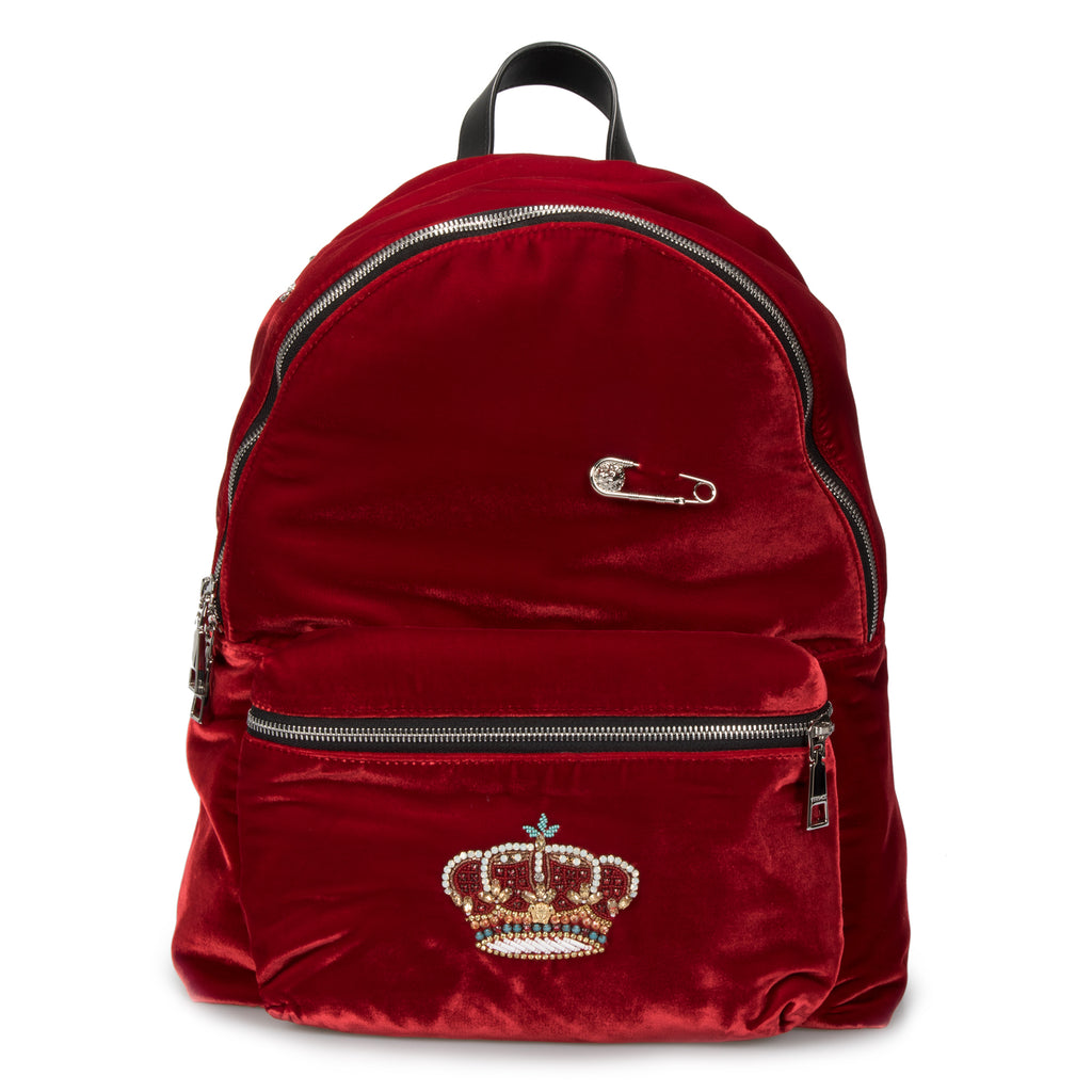 Versace Rock 'N' Royalty Applique Velvet Backpack
