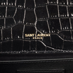Saint Laurent Kate Tassel Clutch in Embossed Crocodile Shiny Leather