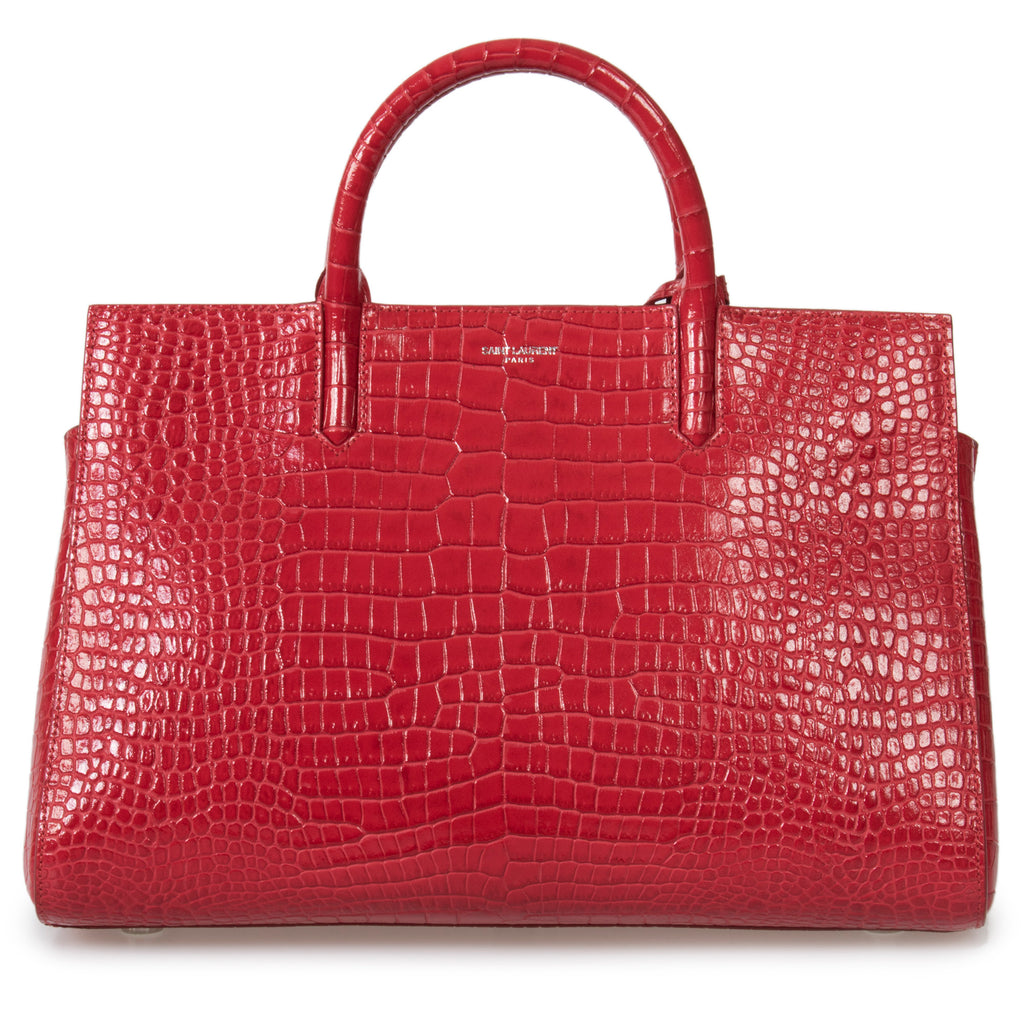 Saint Laurent Red Crocodile Embossed Leather Small Cabas Rive Gauche Tote Bag