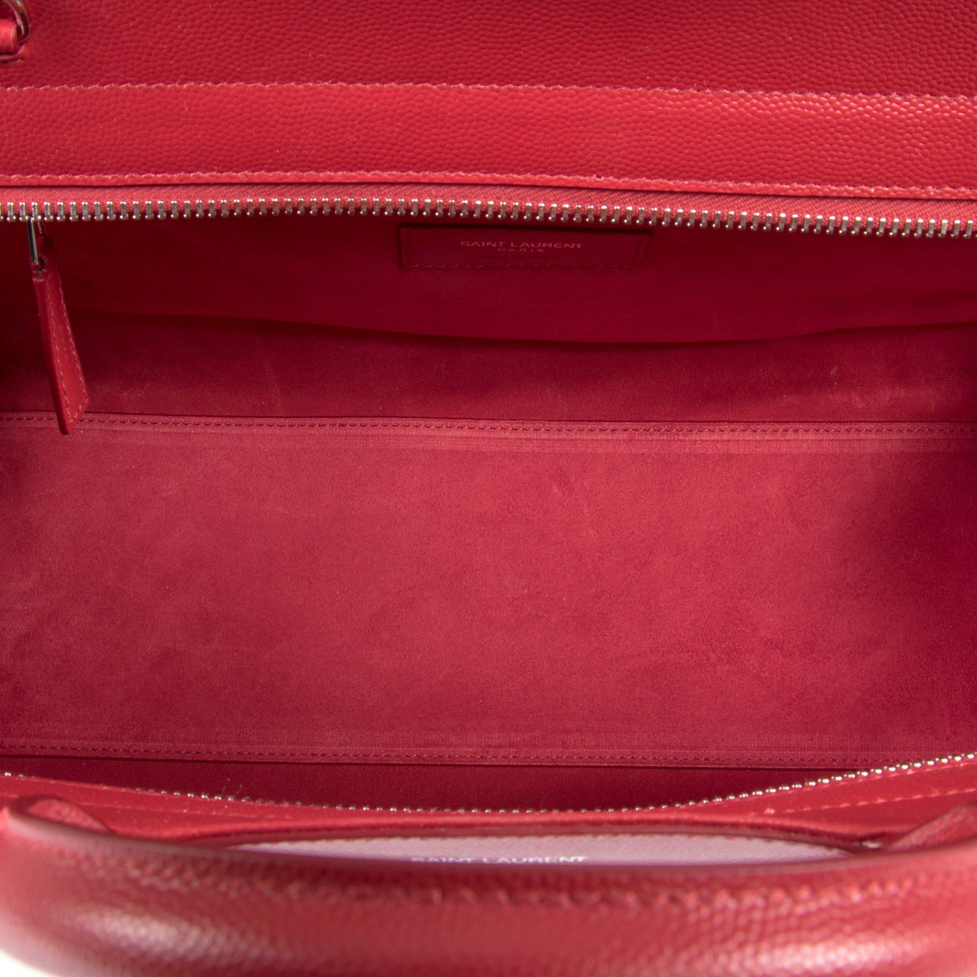Saint Laurent Cabas Rive Gauche Bag | Red Grained Leather with Silver Hardware | Small