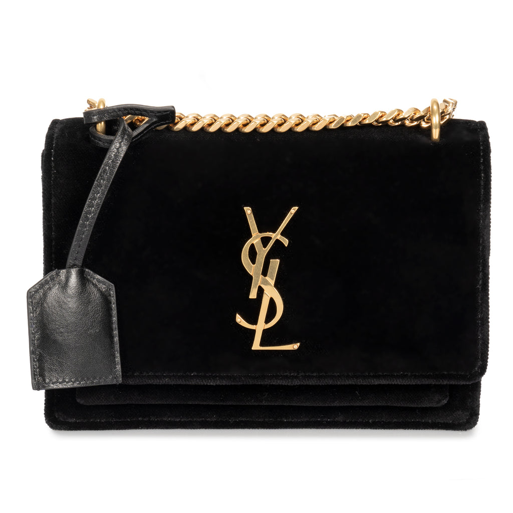 Saint Laurent Small Sunset Monogram Velvet Shoulder Bag