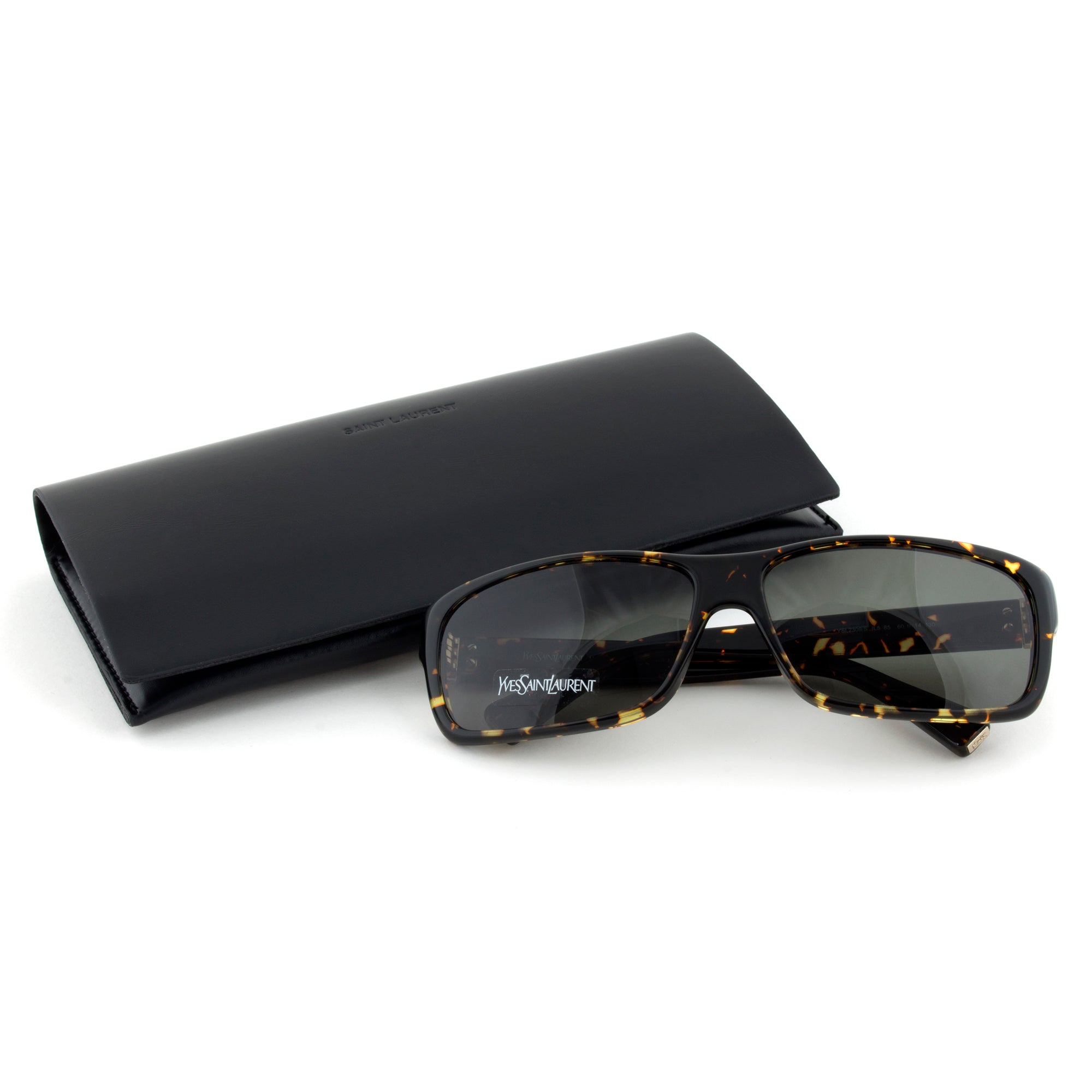 Saint Laurent YSL 2309/S IL585 Rectangular Sunglasses | Dark Havana Frame | Green Lens