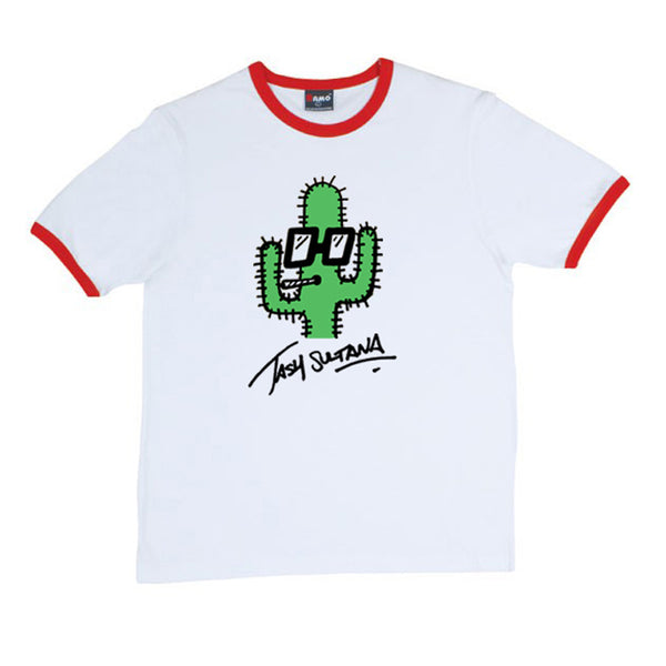 CACTUS RINGER RED TRIM T-SHIRT
