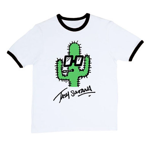 CACTUS RINGER BLACK TRIM T-SHIRT