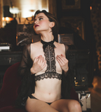Tumultus: Black Lace harness collar and black tied lace panties - PULCHRA Lingerie Boutique