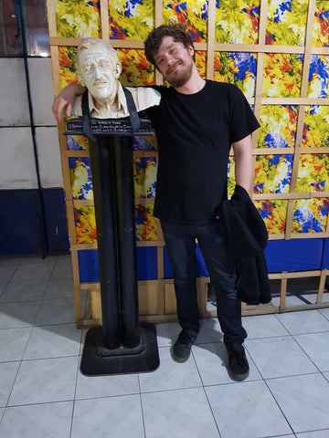 Eamon and the bust of the bartender's grandfather