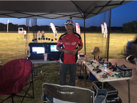 Jay McKibben conducts a race for Dallas Drone Racing group.