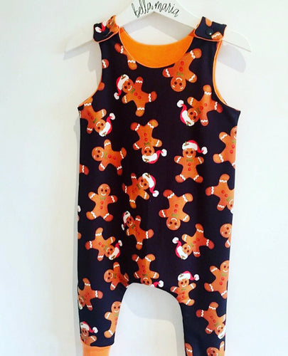 Gingerbread Man Dungaree Romper