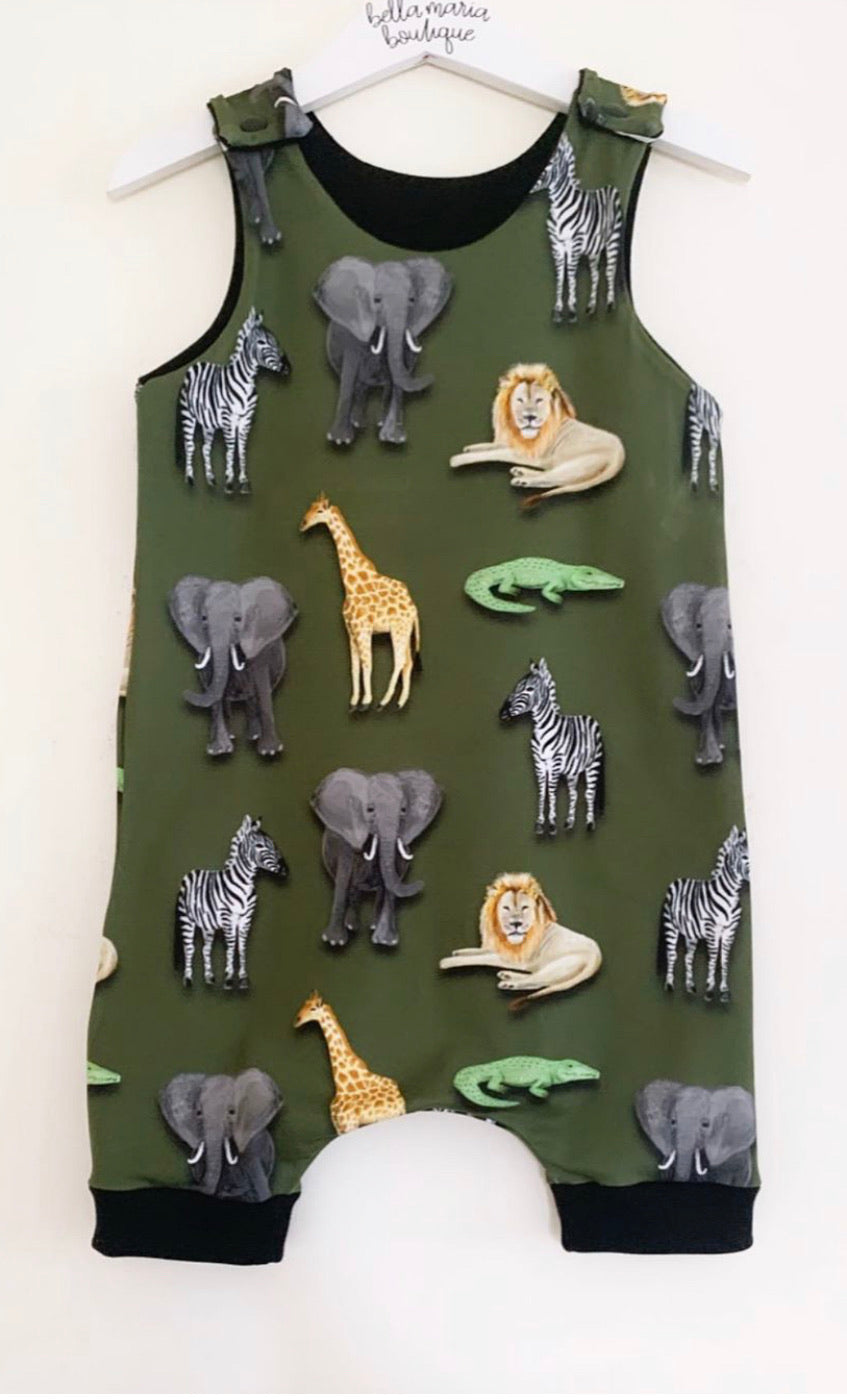 Khaki Animals Romper