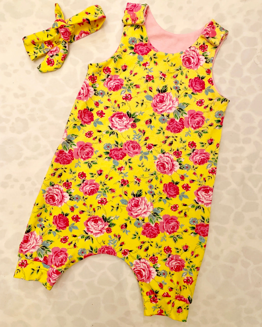 Yellow & Pink Floral Short Dungaree Romper