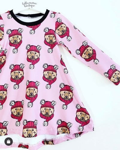 Winter Bears Pink Dress