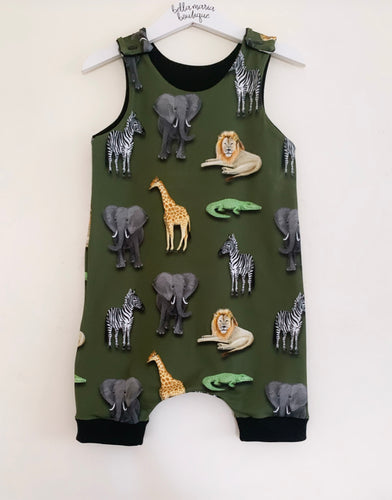 Khaki Animals Short Dungaree Romper