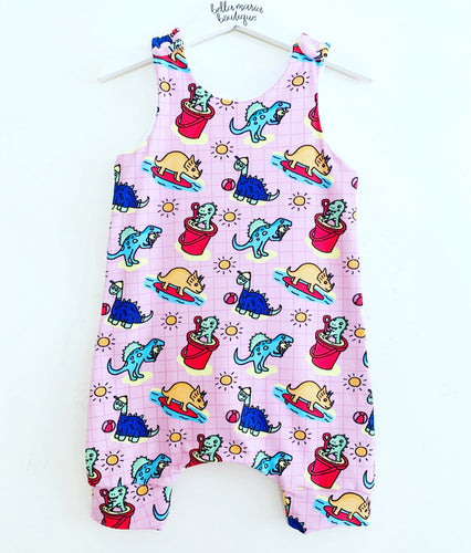 Summer Dinos (Pink) Short Dungaree Romper