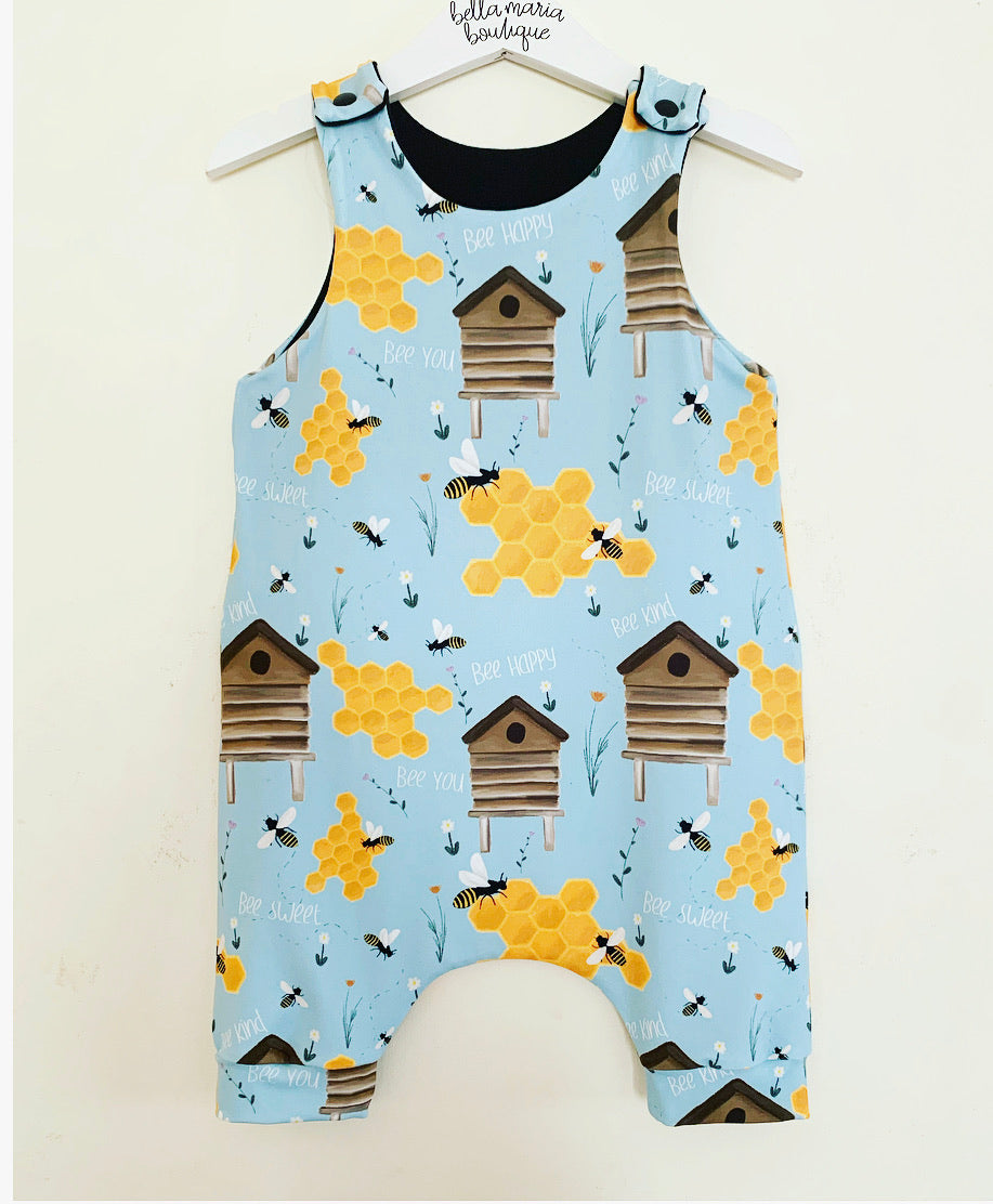 Bee Hive (Blue) Romper