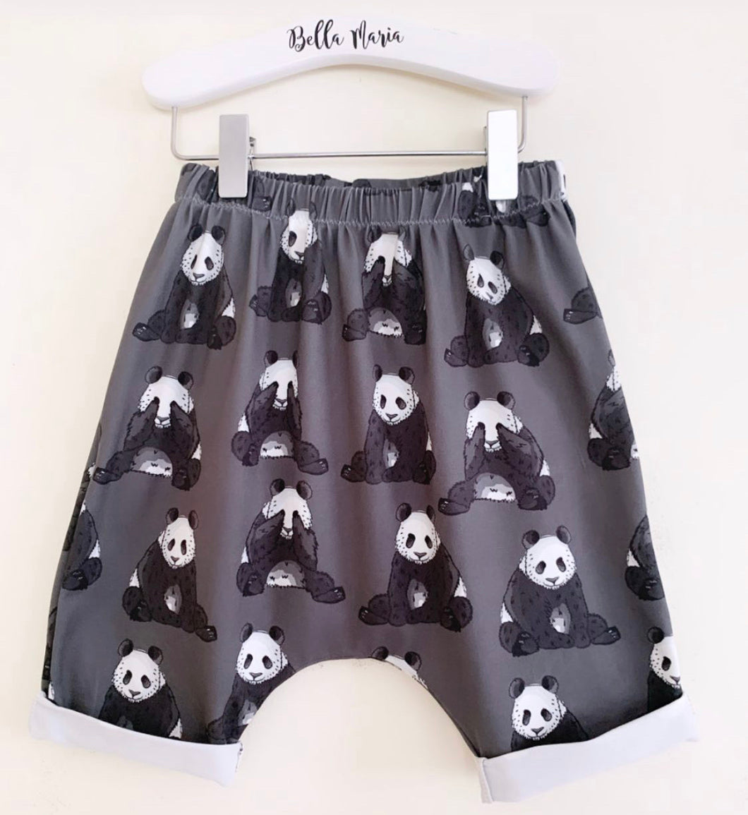 Peek A Boo Panda Charcoal Shorts