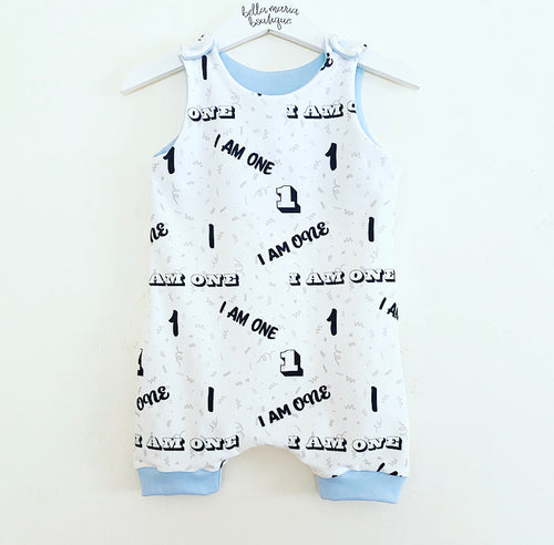 'I am One' Short Dungaree Romper