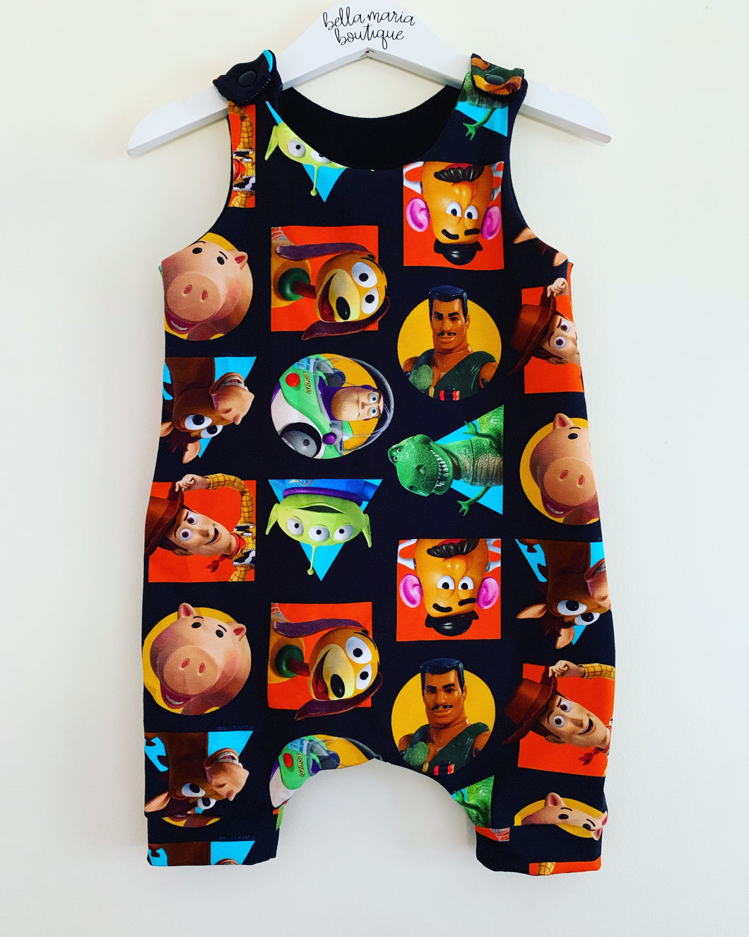 Black Background Toy Story Short Dungaree Romper