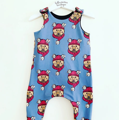 Winter Bears Blue Dungaree Romper