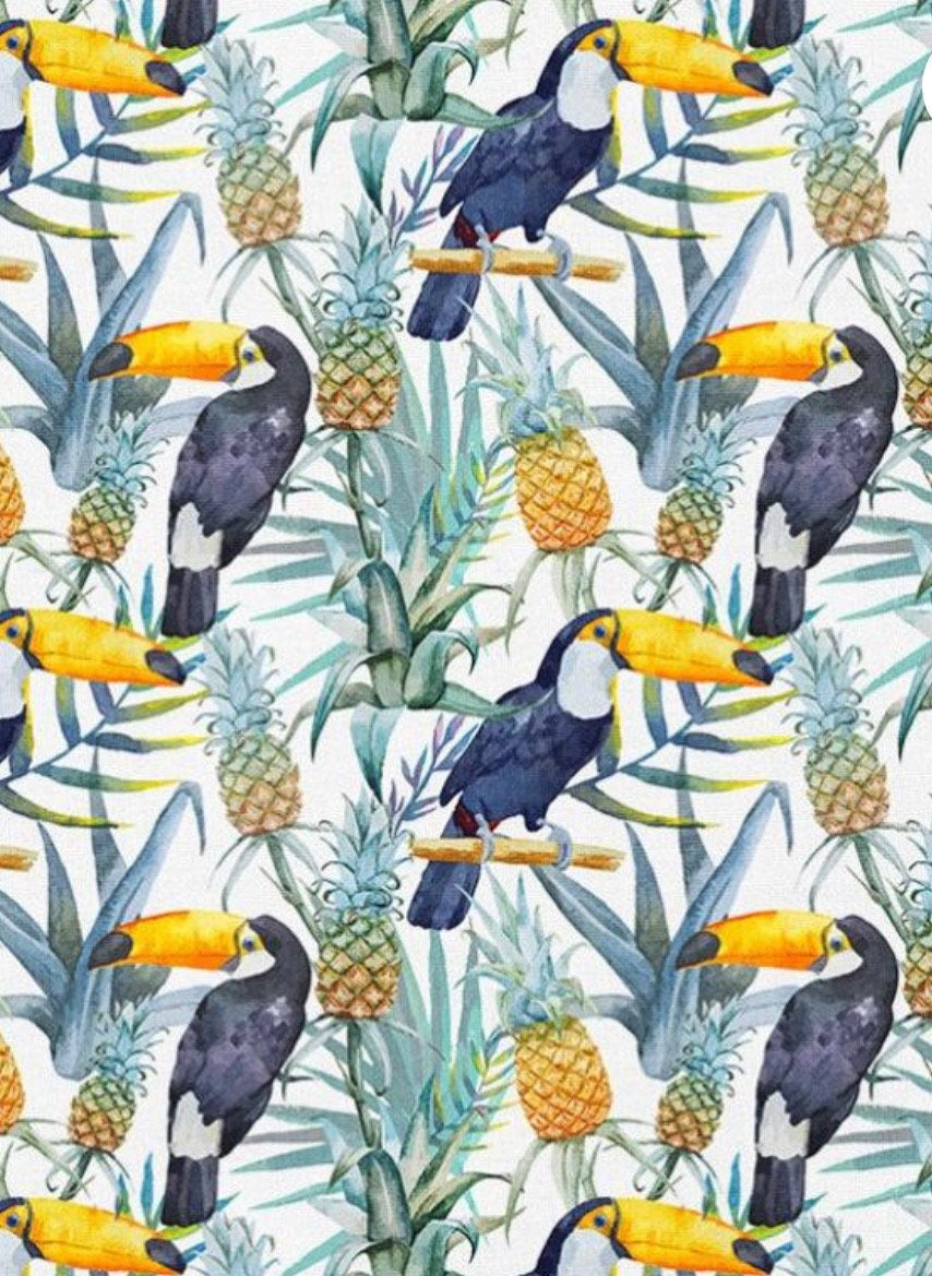 Toucan & Pineapple Short Dungaree Romper