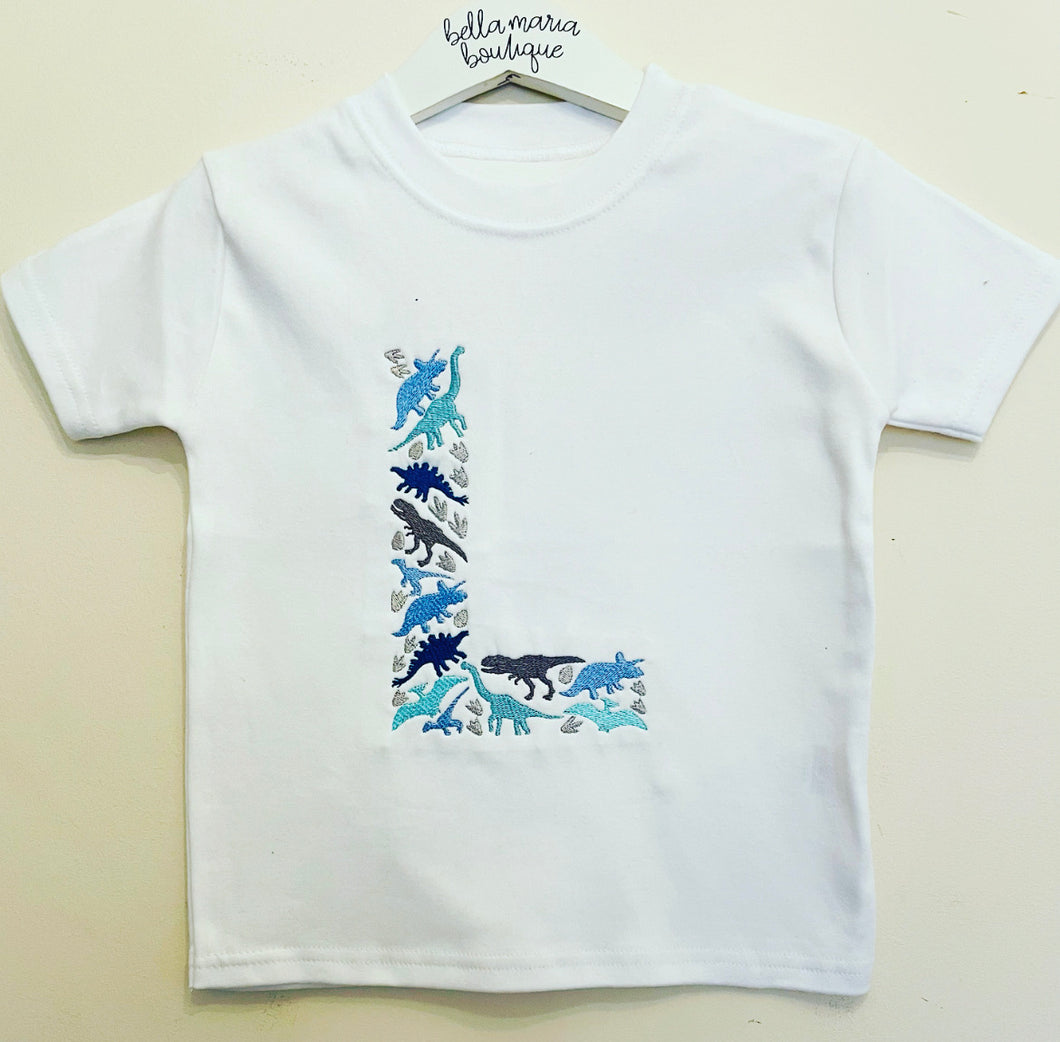 Embroidered Dinosaur T Shirt