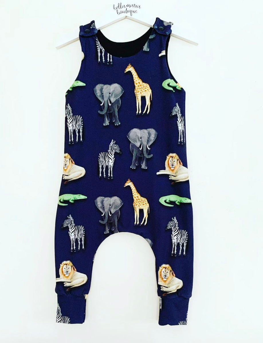 Navy Animals Short Dungaree Romper