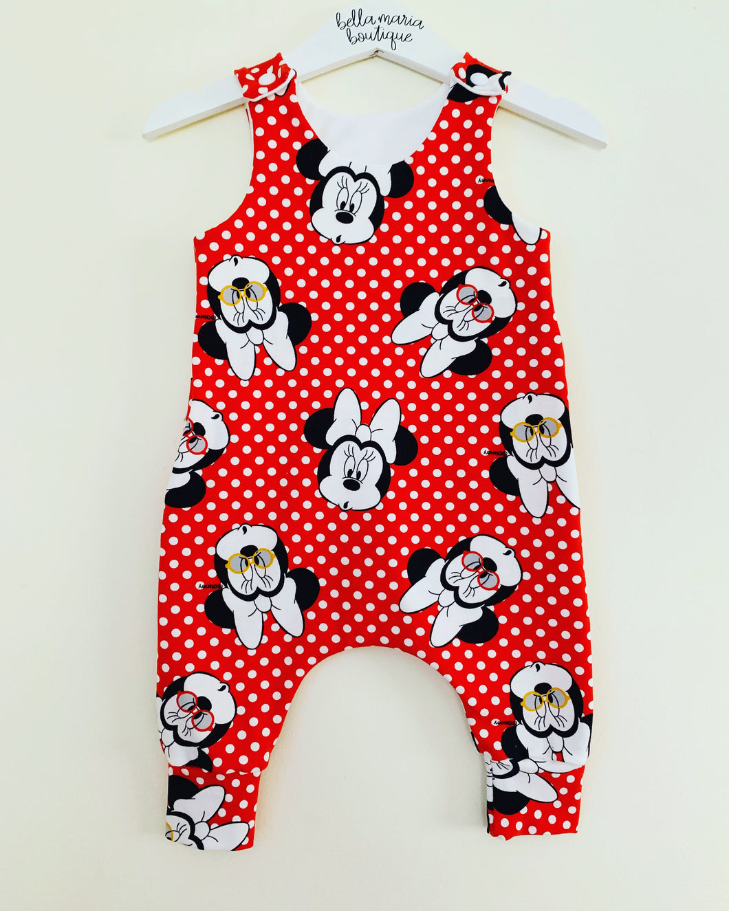 Disney Red Minnie Mouse Dungaree Romper