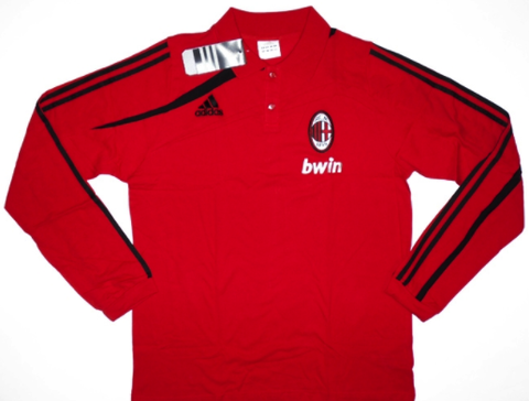 AC MILAN 2009-10 PLAYER ISSUE L/Sleeved Polo (Large) - Classicsoccerstore