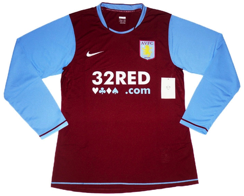 ASTON VILLA 2007-08 Player Issue L/Sleeved Home Jersey (XL) - Classicsoccerstore