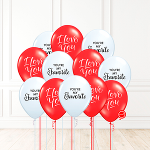 12 globos inflados con helio -I Love You / My Favorite- Bio* -RAC031-