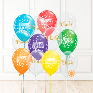 12 globos inflados con helio -Happy Birthday/Cheers- Bio* -RAC013-