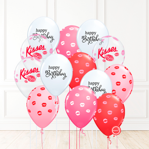 14 globos inflados con helio -Happy Birthday/Kisses- Bio* -RAC016-