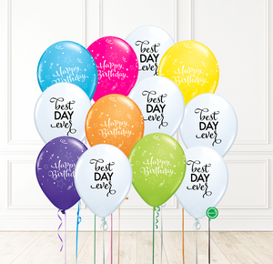 12 globos inflados con helio -Serpentinas Best Day Ever- Bio* -RAC006-