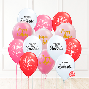 14 globos inflados con helio -I Love You/You're my Favorite/Happy Birthday- Bio* -RAC009-