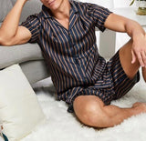 Men Lapel Neck Striped Shirt & Shorts PJ Set