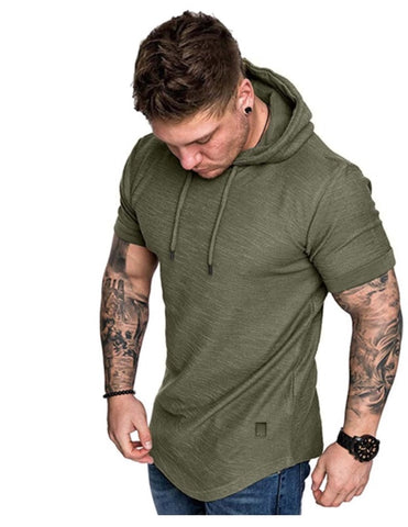 Patched Drawstring Hooded Tee