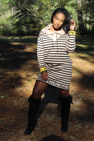 Keep Me Striped Hooded Sweater Dress