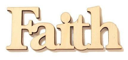 'Faith' Cardinal Arts & Crafts Wood Word, unfinished