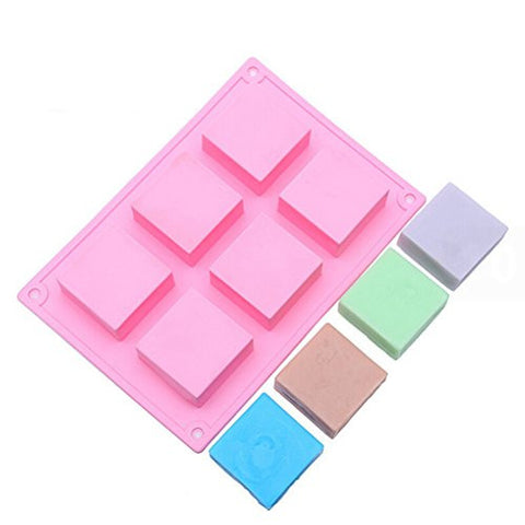 JiaUfmi 6-Cavity Plain Basic Rectangle Silicone Mold for Homemade Craft Soap Mold,Cake mold, Ice cube tray