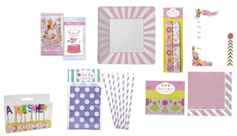 Party Partners Deluxe Complete Make A Wish Party Kit for 12, Pink/Purple