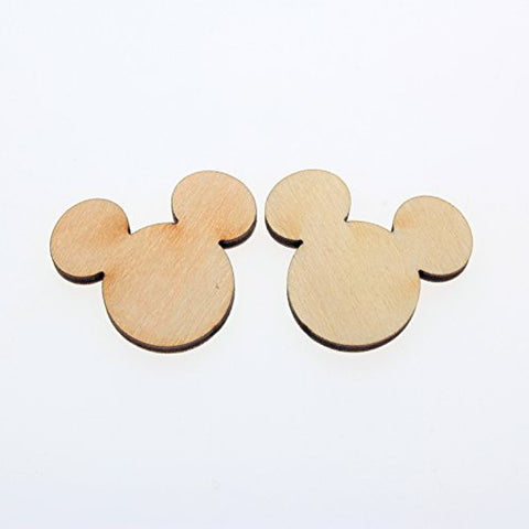 "yuhoshop: 50pcs 1.25"" (wide ear to ear) X 1/8"" inch WOODEN MICKEY MOUSE HEAD PLAIN UNFINISHED WOOD CRAFT FOR DISKS,TAGS,EARRINGS,WEDDING,FAMILY BIRTHDAY CALENDAR,PLAQUE,JEWELRY DIY"