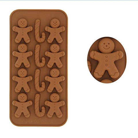JiaUfmi Gingerbread Man Crutches Silicone Mold for Homemade Soap, Cake, Cupcake, Pudding, Jello, Bread, Muffin and More