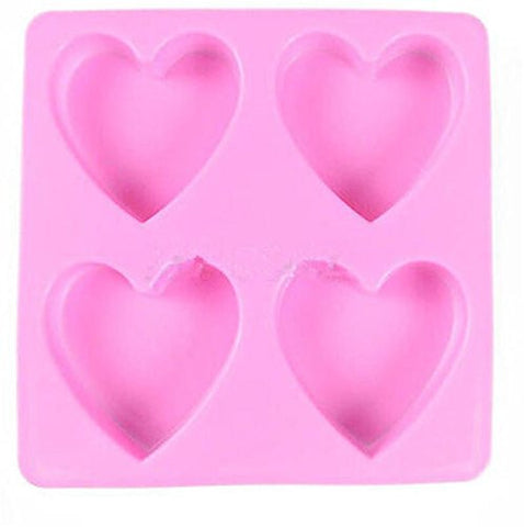 Buytra 4-Cavity Heart Shape Silicone Mold for Homemade Soap, Cake, Cupcake, Bread,Jello, and More