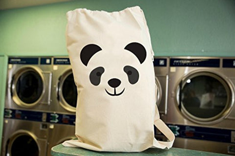 Panda Laundry Bag in Natural Color with Drawstring to close and strap for Carrying
