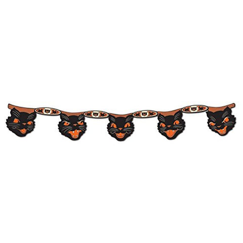 Club Pack of 12 Black and Orange Halloween Jointed Cat Streamer Hanging Decorations 4'