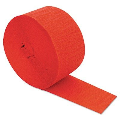 CINCC3670 Crepe Streamers, 1 3/4quot; x 81ft, Flame Red